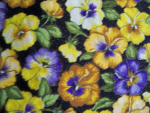 Black Panzy Floral Cotton Fabric