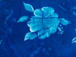 Denim Blue Floral Fabric Swatch