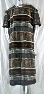 Brown and Gray Jacquard Dress