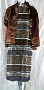 Brown/Gray Jacquard Dress and Brown Satin Jacket