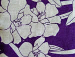 Purple and White Floral Linen Swatch