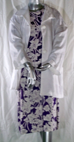 Linen Purple Floral Dress and White Jacket Suit