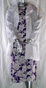 Linen Purple Floral Dress and White Jacket Suit