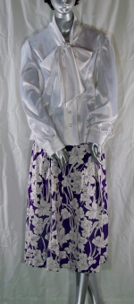 White Satin Blouse and Purple Floral Linen Skirt