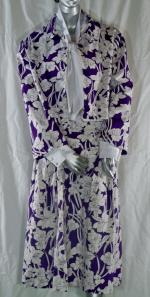 Purple Linen Suit and White Satin Blouse