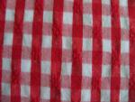Red and White Seersucker Fabric