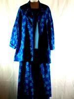 Blue Floral Denim Jacket and Skirt