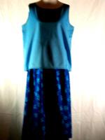 Blue Ponte Knit Top and Denim Floral Skirt