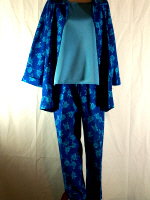 Blue Floral Denim Pant Suit