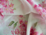 Pink Floral Sheer Fabric