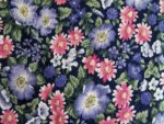 Black/Pink Floral Cotton Fabric