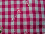Hot Pink Floral Gingham Fabric