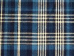 Navy Blue and White Plaid Fabric